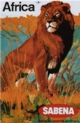 Sabena, Belgian World Airlines poster - Africa
